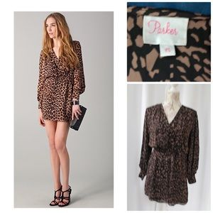 Parker Silk Long Sleeve Mini Dress Sz XS Animal